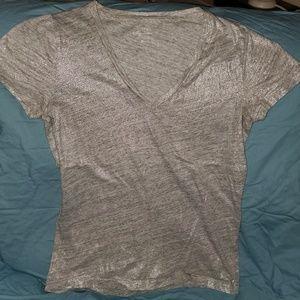 J. Crew Vintage Cotton silver glitter tshirt